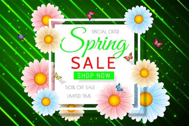 Sfondo di vendita di primavera con bel fiore colorato. modello di disegno floreale per coupon, banner, voucher o poster promozionale.
