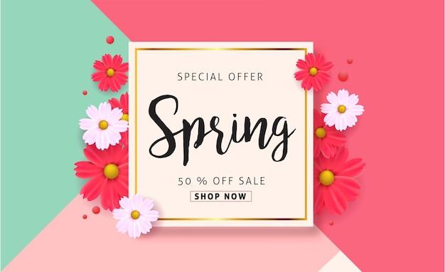Sfondo di vendita di primavera con bel fiore colorato.
