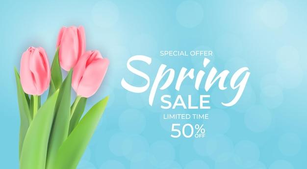 Sfondo di vendita di primavera con fiori tulipano realistici.