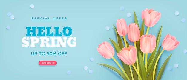 Sfondo di vendita di primavera con tulipani realistici