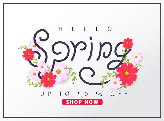 Fondo della bandiera di vendita di primavera con il fiore.