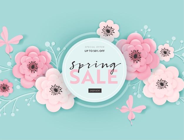 Fondo dell'insegna di vendita di primavera con fiori recisi di carta ed elementi floreali. modello di buono sconto di primavera, brochure, poster, promozione pubblicitaria. illustrazione vettoriale