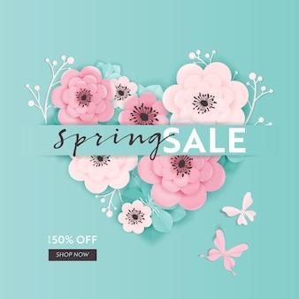 Fondo dell'insegna di vendita di primavera con fiori recisi di carta. modello di buono sconto di primavera, brochure, poster, promozione pubblicitaria. illustrazione vettoriale