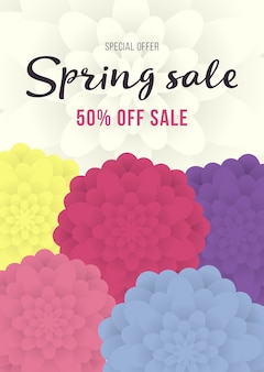 Primavera vendita banner, poster vendita, vendita flyer con fiore colorato. miglior prezzo. wallpaper, invito, brochure, sconto del voucher.