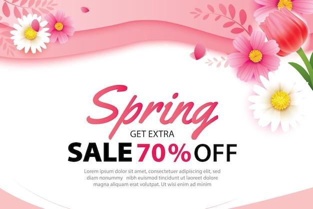 Banner di vendita di primavera con fiori che sbocciano