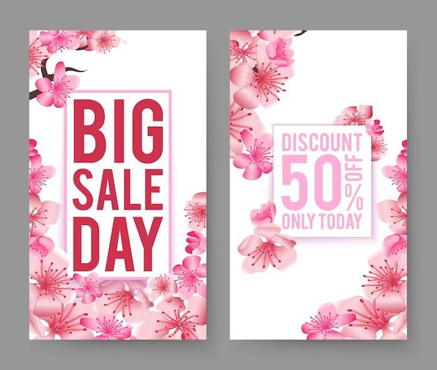 Set di banner di vendita di primavera