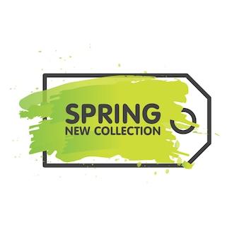 Concetto dell'etichetta di vendita della primavera nel fondo dipinto della spazzola. modello di etichetta banner stagionale. illustrazione vettoriale.
