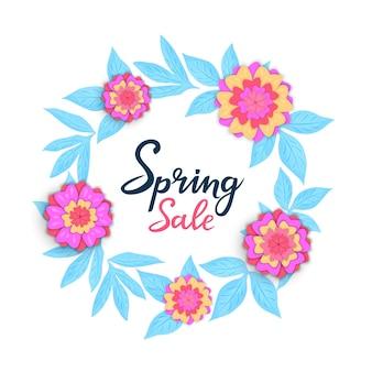 Modello di vendita primaverile per sconti stagionali. poster floreali o banner design con fiori nello stile del taglio della carta.