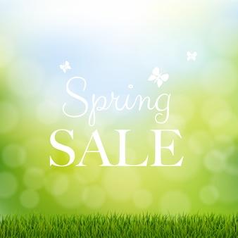Vendita di primavera con bordo erba Vettore Premium