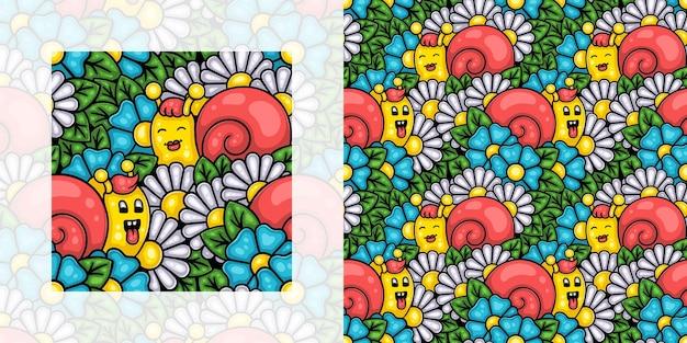 Motivo primaverile senza cuciture di lumache in un giardino fiorito