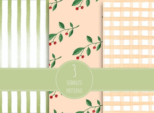 Acquerello di primavera seamless pattern collection