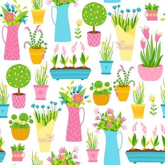 Modello senza cuciture di primavera in stile cartone animato semplice disegnato a mano. illustrazione colorata infantile con vasi di fiori, mazzi di fiori e vasi. negozio di fiori da giardino.