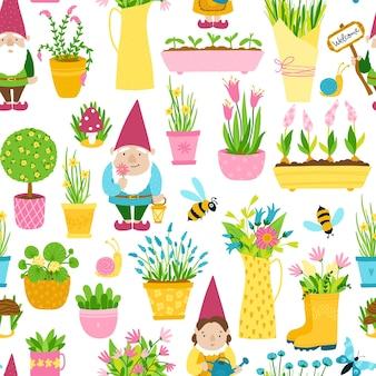 Modello senza cuciture di primavera in stile cartone animato semplice disegnato a mano. gnomi da giardino infantili, vasi di fiori con api.