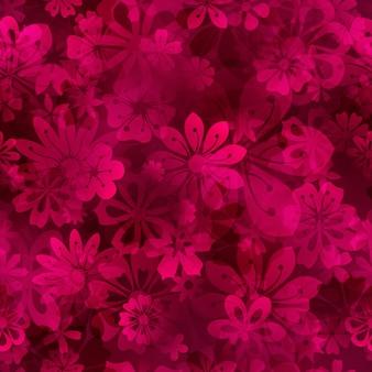 Motivo primaverile senza cuciture di vari fiori in colori cremisi