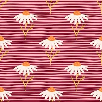 Motivo primaverile senza cuciture con stampa di simpatici fiori margherita bianca