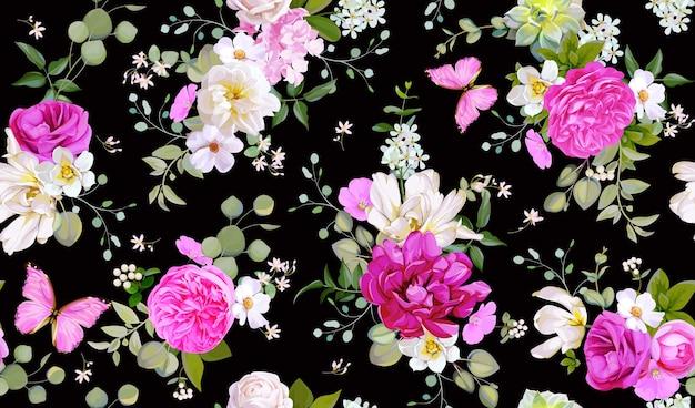 Motivo primaverile senza cuciture con fiori, piante grasse e farfalle