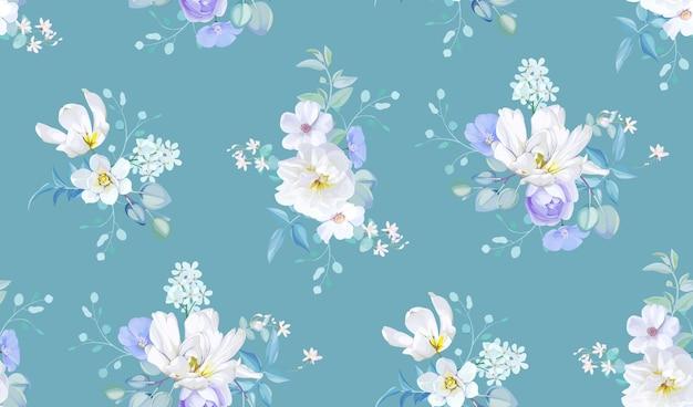 Motivo primaverile senza cuciture con fiori