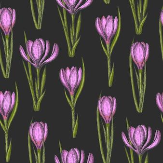 Modello senza cuciture di primavera con fiori disegnati a mano
