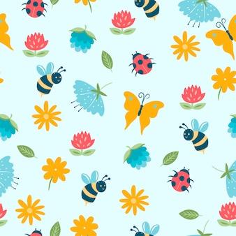 Modello senza cuciture di primavera con insetti e fiori.