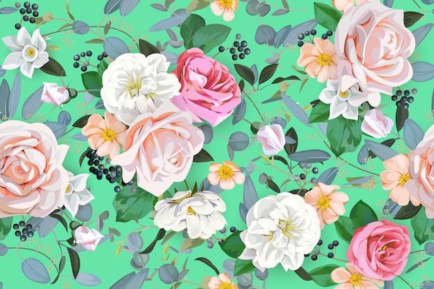 Motivo primaverile senza cuciture con rose
