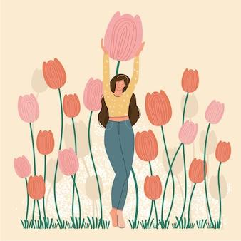 Donna dell'insegna di stagione primaverile con l'illustrazione sveglia di vettore del tulipano per bannercardposterflyerweb
