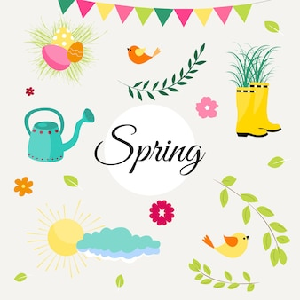 Set primavera di graziosi uccelli, fiori e decorazioni. poster, carta, scrapbooking, kit di adesivi. illustrazione vettoriale disegnato a mano.