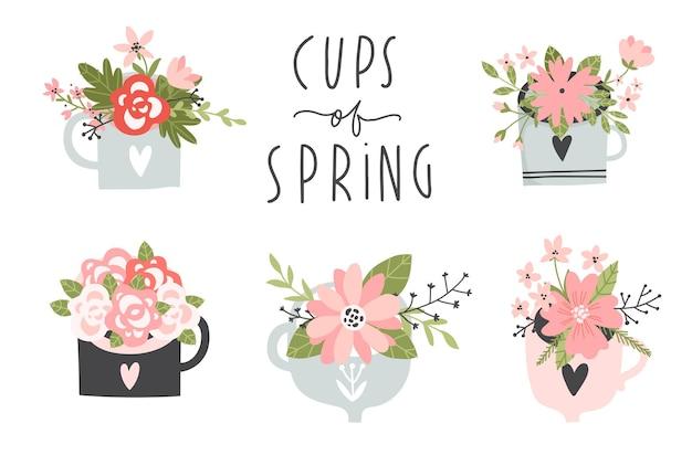 Set di primavera elementi disegnati a mano con scritte ghirlande di fiori su tazze
