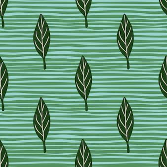 Modello senza cuciture in stile primaverile con stampa di elementi foglia astratti verdi