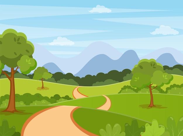 Primavera, estate cartone animato paesaggio di sfondo.