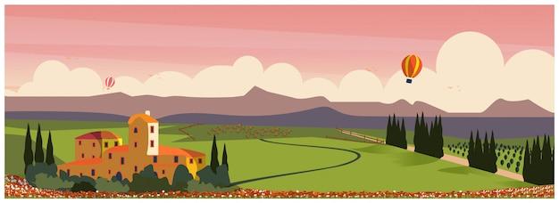 Primavera o estate giorno in campagna rurale in europa. vigneto con allevamento di cavalli e mongolfiera. illustrazione.