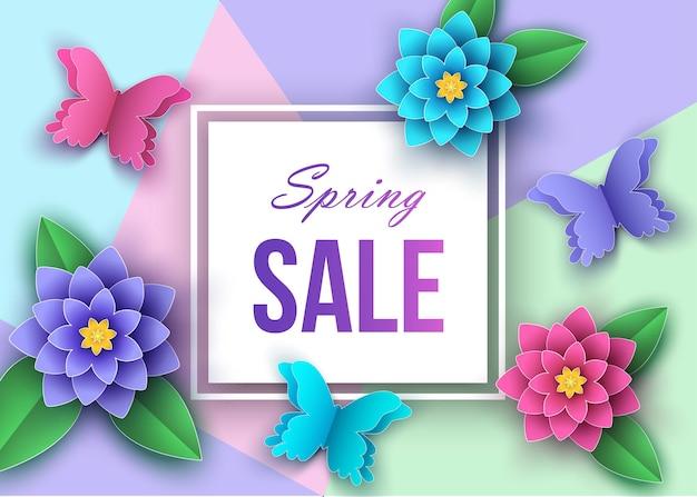 Banner di vendita stagione primaverile o estiva con bellissimi fiori Vettore Premium