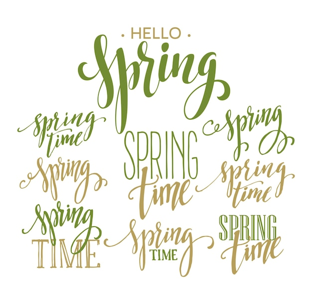 Spring time, hello spring lettering set. illustrazione