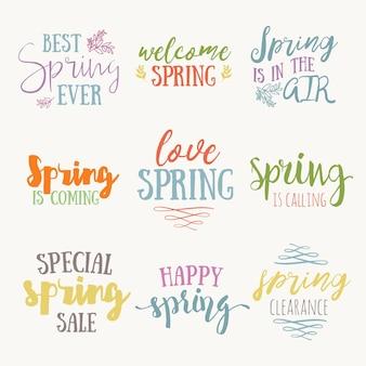 Insieme di citazione ispiratrice del tempo di primavera. citazione di lettere con tema primaverile. benvenuta primavera