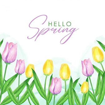 Tulipani primavera sfondo ad acquerello