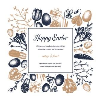 Annata primaverile. sfondo di pasqua con fiori che sbocciano, piume di uccelli, uova e decorazioni floreali. illustrazione colorata di primavera. modello di carta, invito o banner di pasqua.