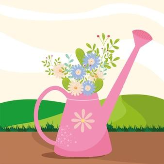 Annaffiatoio primaverile con fiori design, stagione ornamento floreale naturale giardino e illustrazione tema decorazione