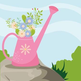 Annaffiatoio primaverile con fiori alla progettazione del paesaggio, stagione ornamento floreale naturale giardino e illustrazione a tema decorazione