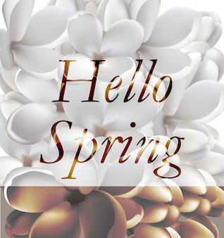 Fondo realistico della carta di vettore dei fiori bianchi della primavera