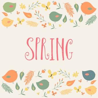 Parola di primavera e uccelli con foglie