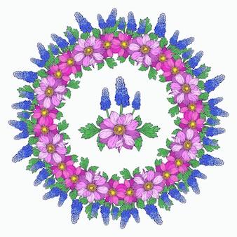 Ghirlanda di fiori primaverili. cornice floreale con anemoni e muscari.