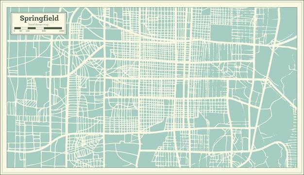 Mappa della città di springfield usa in stile retrò. mappa di contorno. illustrazione di vettore.