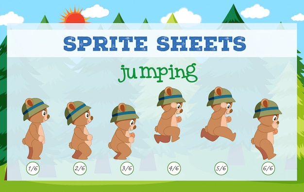 Sprite sheet bear jumping
