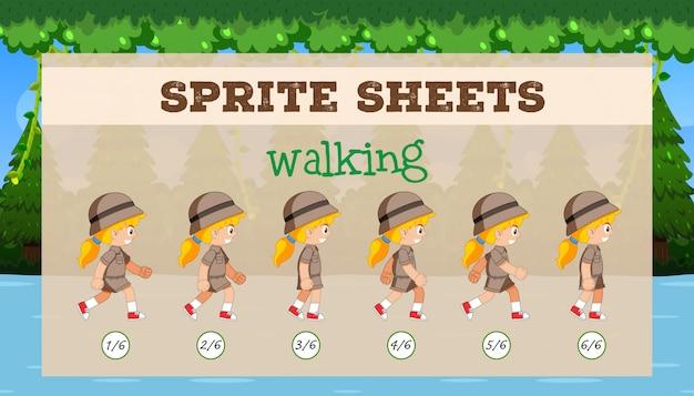Sprite sheet ragazza che cammina