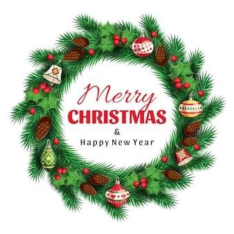 Corona di natale in abete rosso con un saluto buon natale e felice anno nuovo