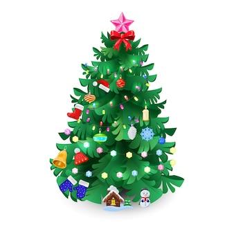 Abete rosso, abete o pino decorato con palline, palline, stella, candela, ghirlanda, guanti, stivale, fiocco di neve