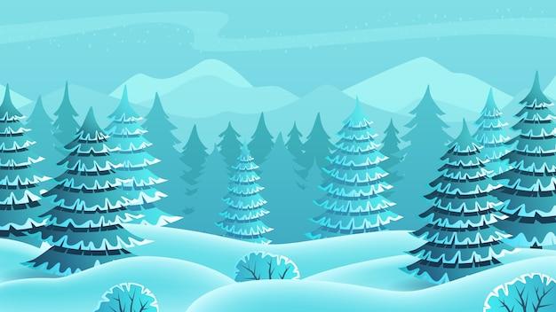 Paesaggio invernale della foresta di abete rosso