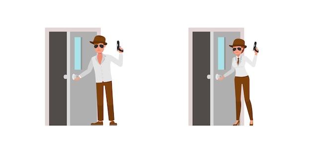 Spia agente segreto personaggio disegno vettoriale. presentazione in varie azioni. no10