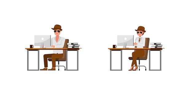 Spia agente segreto personaggio disegno vettoriale. presentazione in varie azioni. no13
