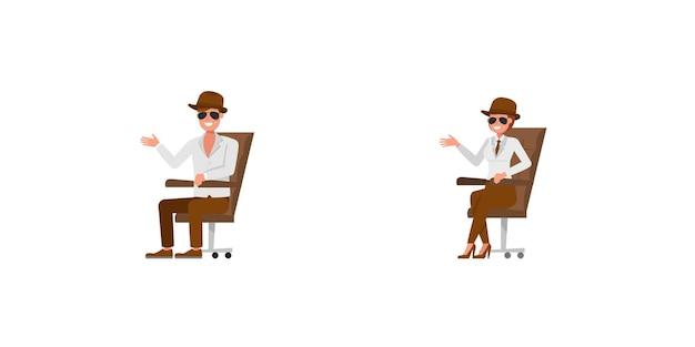 Spia agente segreto personaggio disegno vettoriale. presentazione in varie azioni. no14