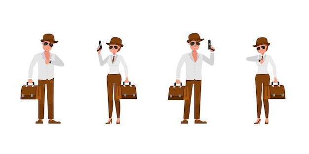 Spia agente segreto personaggio disegno vettoriale. presentazione in varie azioni. numero 3